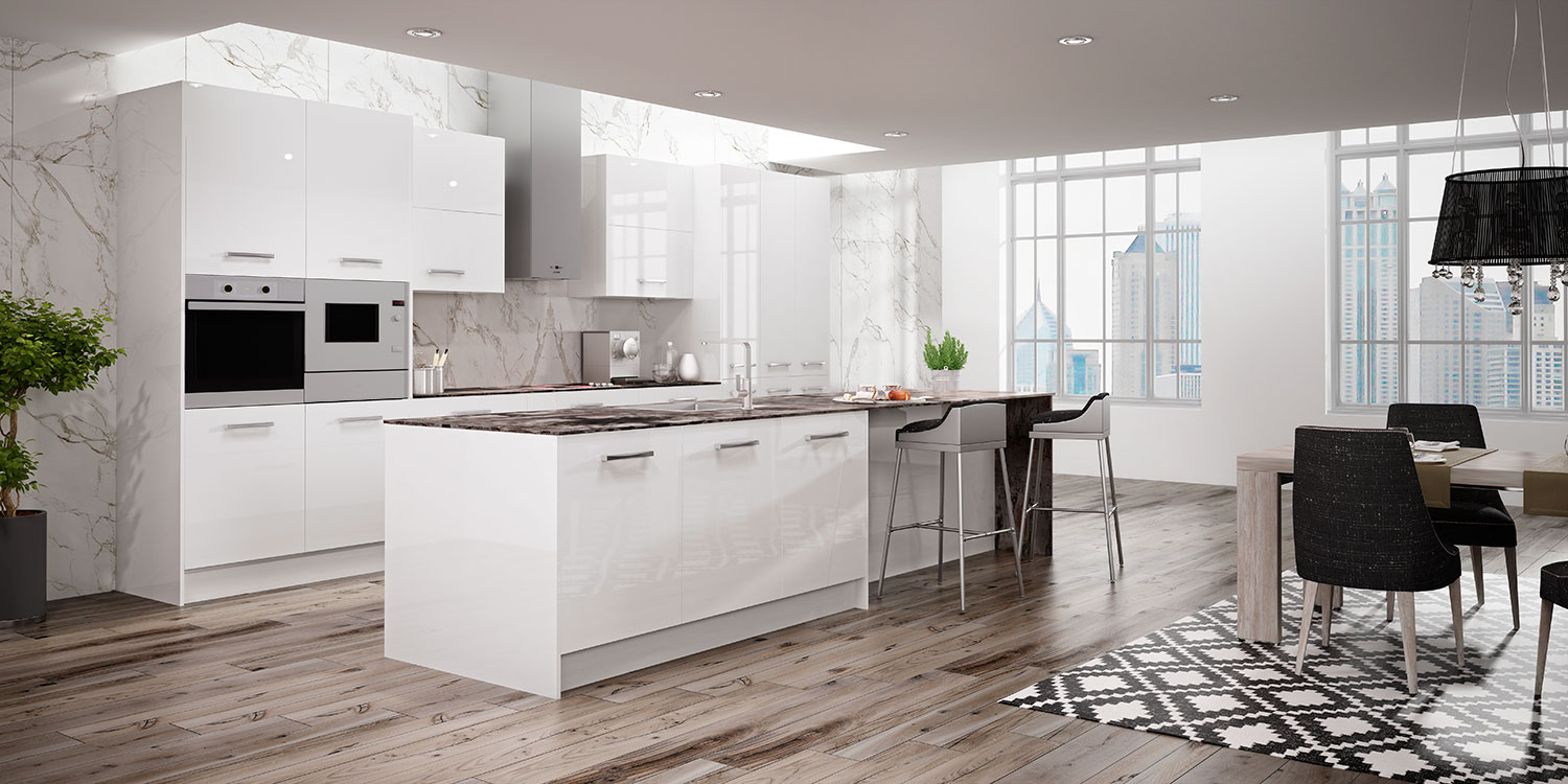 Cocinas blancas brillo the new social kitchen faro by for Cocinas residenciales modernas