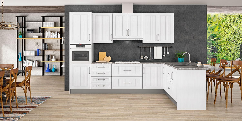 cocinas blancas en L