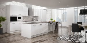 Cocinas modernas blancas con isla