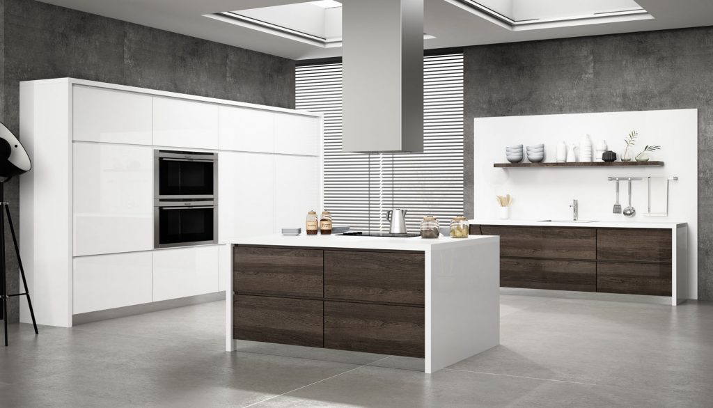cocinas modernas brillo blancas y madera