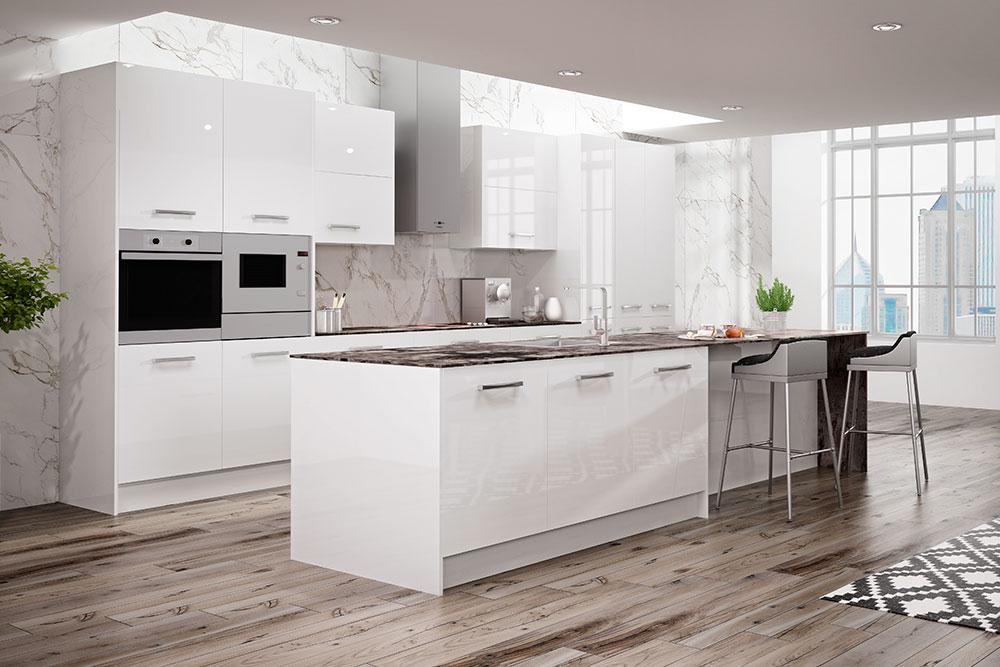 Cocinas modernas blancas vers tiles y atemporales faro for Suspension de cocina moderna