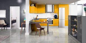 cocinas modernas en color gris y curry